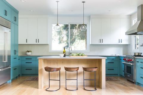 Countertop, Furniture, Cabinetry, Room, Kitchen, White, Property, Interior design, Green, Yellow,