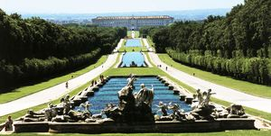 High angle view of fountains in a garden, Fountain of Venus and Adonis, Caserta Palace, Reggia, Caserta, Campania, Italy