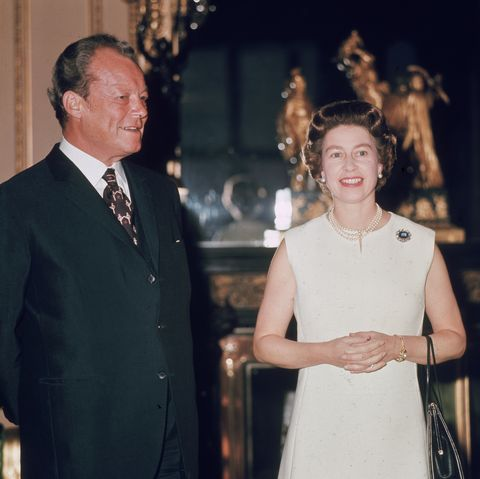20th april 1972  german chancellor, willy brandt karl herbert frahm 1913   1992 with queen elizabeth ii at windsor castle german born, as a fervent anti nazi he  fled to norway and took norwegian citizenship in the mid thirties  photo by mike lawnfox photosgetty images