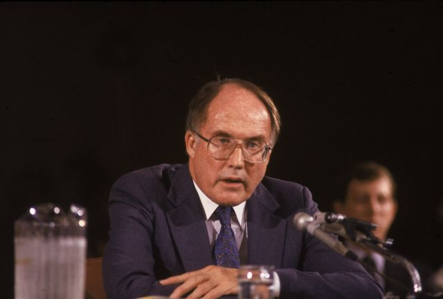 american jurist william rehnquist sits behind a microphone as he answers questions during the hearings regarding his nomination as chief justice of the us supreme court, washington dc, july 30, 1986 photo by ricardo watsonpictorial paradegetty images