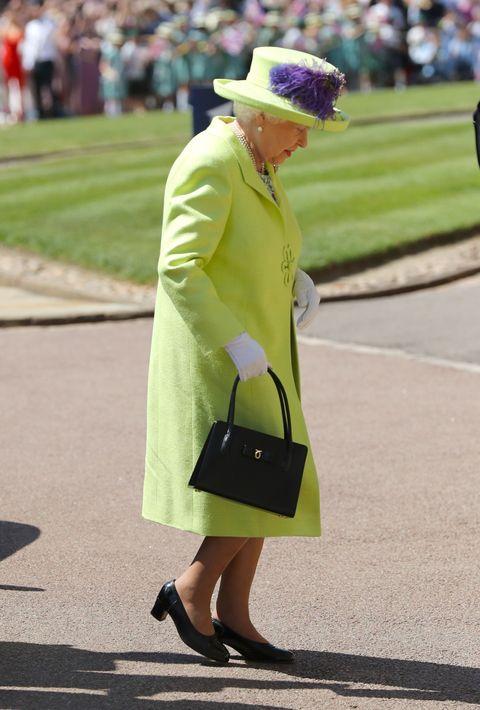 La Reina Isabel II a su llegada a la boda de su nieto, el príncipe Harry