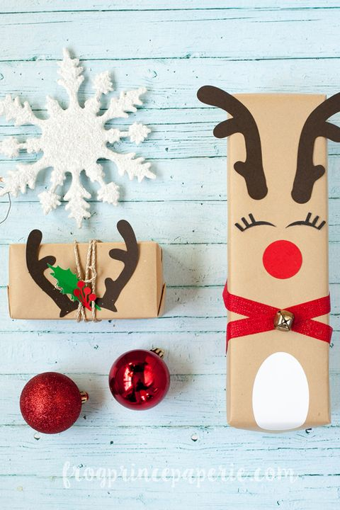reindeer gift wrapping idea - 39 Unique Gift Wrapping Ideas For Christmas - How To Wrap Holiday