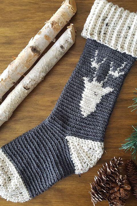 reindeer crochet christmas stocking
