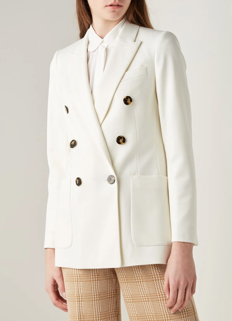 reiss double breasted witte blazer