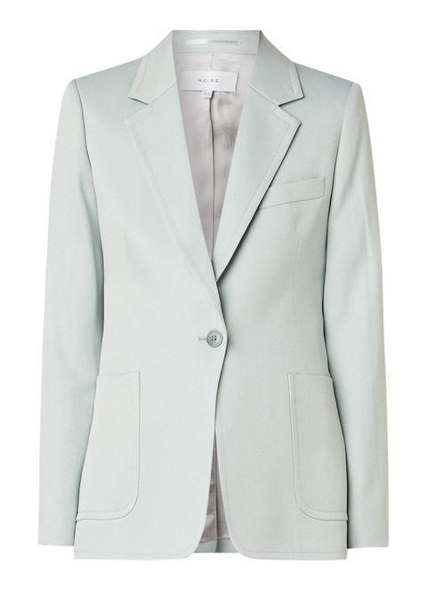 Clothing, Outerwear, Suit, Blazer, White, Jacket, Formal wear, Sleeve, Top, Tuxedo,