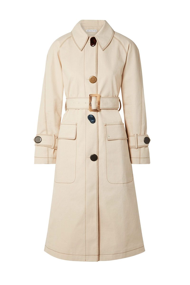 Rejina Pyo denim trench coat with big buttons