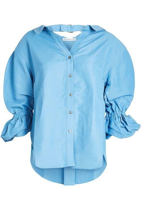 Clothing, Blue, Sleeve, Aqua, Shirt, Turquoise, Azure, Blouse, Button, Collar,