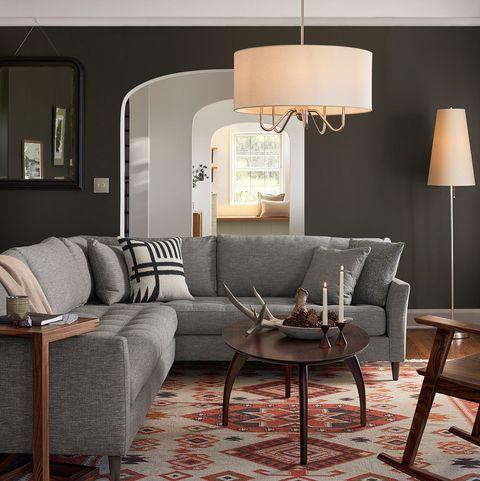 Living room, Furniture, Room, Lampshade, Interior design, Lighting accessory, Lighting, Light fixture, Lamp, Floor,