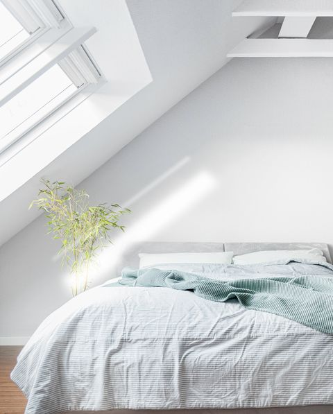 minimalist white bedroom with lots of light