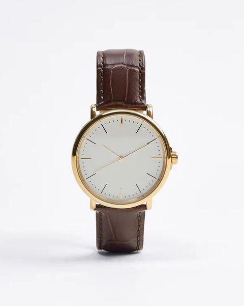 reloj correa cuero marron zara