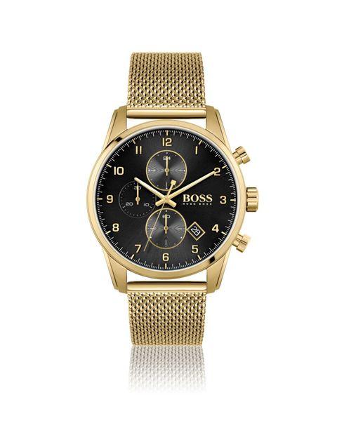 reloj hombre hugo boss hugo boss 1513838 skymaster reloj cronógrafo dorado de acero inoxidable hombre