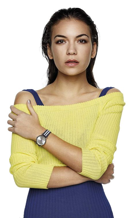 Yellow, Clothing, Shoulder, Beauty, Photo shoot, Arm, Neck, Fashion model, Photography, Model,