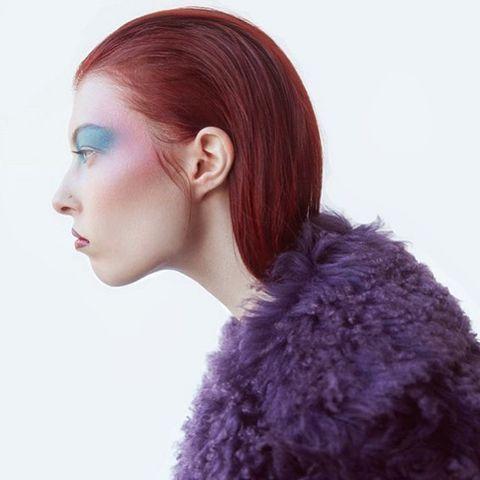 Hair, Hairstyle, Purple, Hair coloring, Chin, Beauty, Violet, Long hair, Ear, Brown hair,