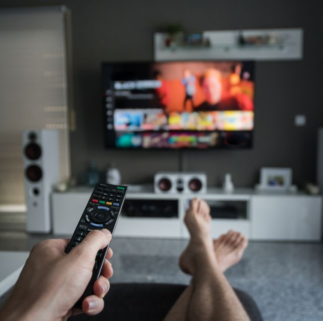 remote control with television in living room