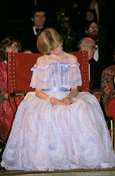 november 04, princess diana at the victoria and albert museum for the gonzagas exhibition gala wearing a pale blue chiffon evening dress designed by fashion designers bellville sassoon