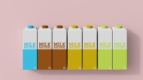 3d rendering, row of milk cartons in different colors