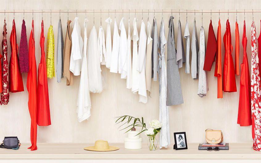Clothes hanging inside a closet