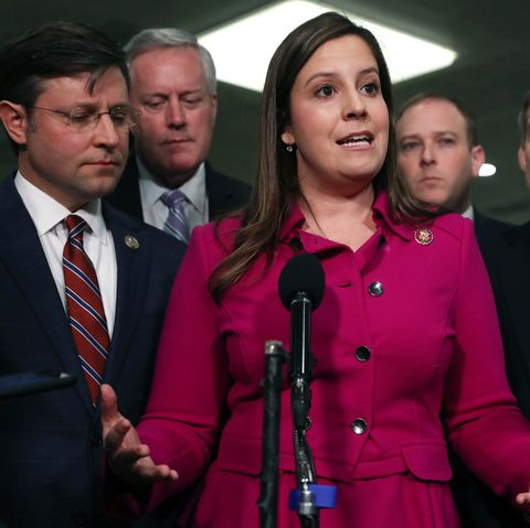 elise stefanik speaks with reporters before president donald trump's impeachment trial resumes at the us capitol in january 2020 in washington, dc