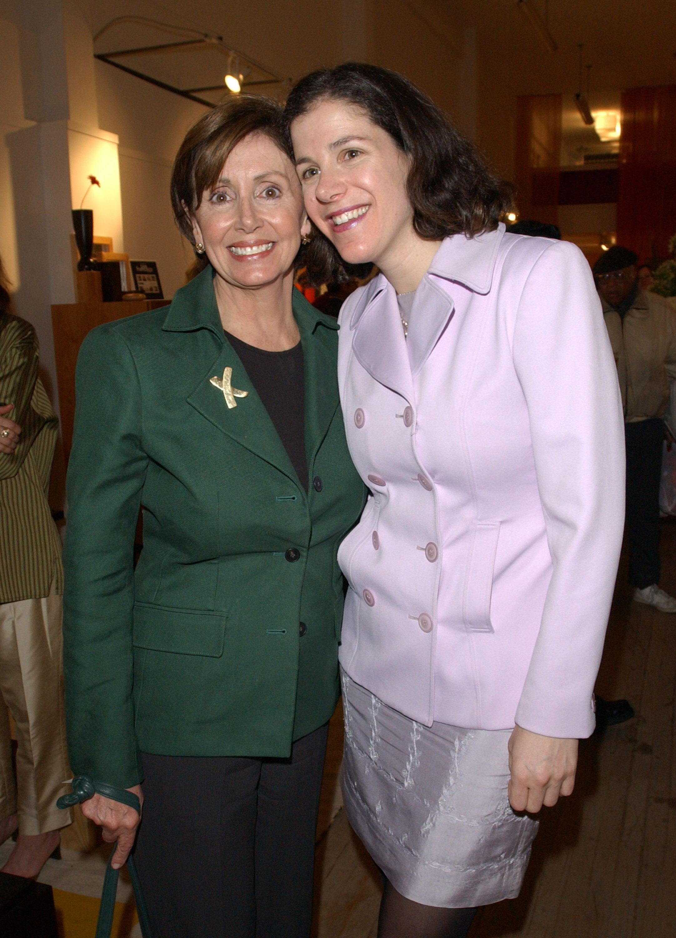 Nancy and her daughter Alexandra Pelosi at the premiere of Journeys with George, a documentary Alexandra directed covering George W. Bush's presidential campaign.