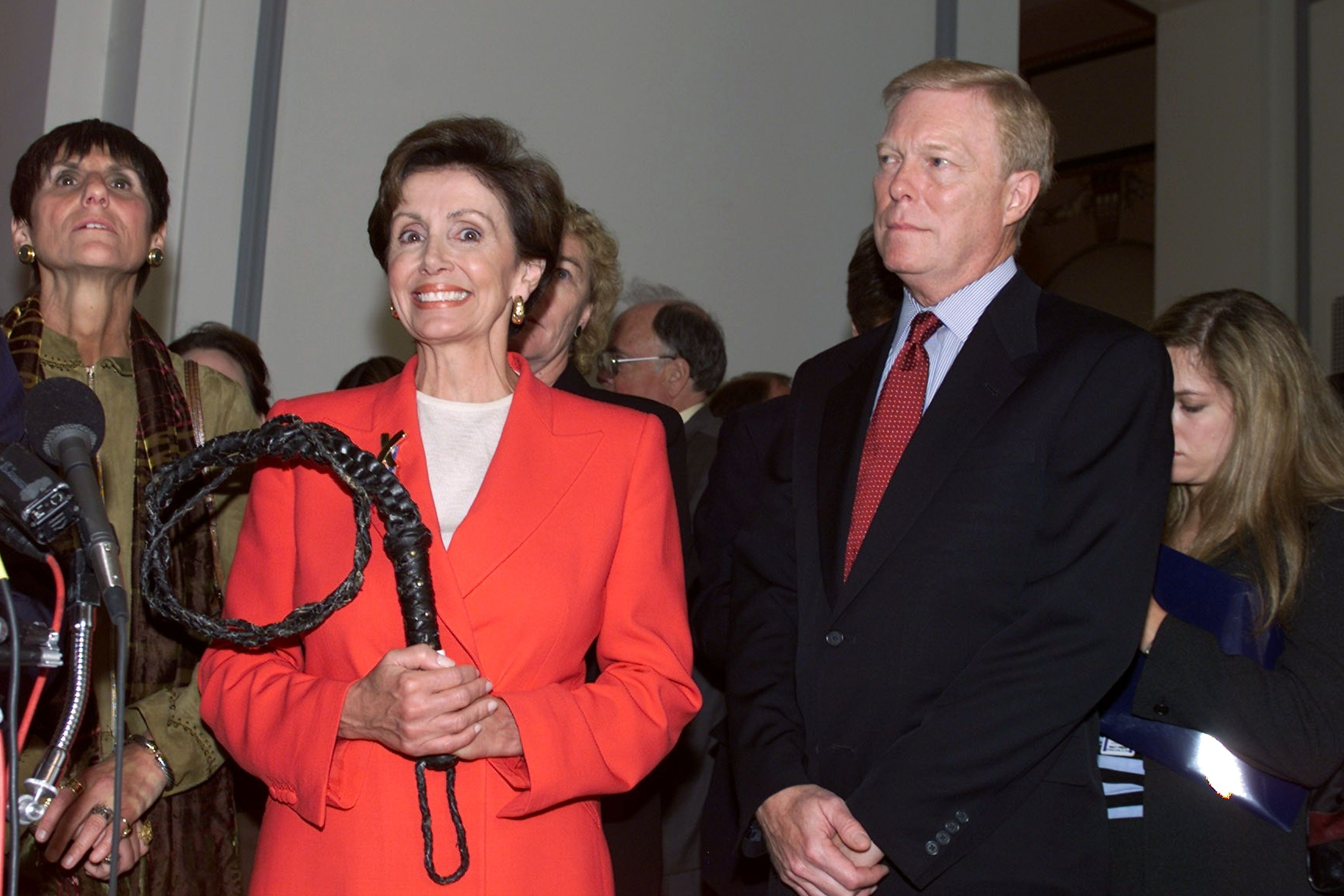 After being elected House Whip in October 2001, Pelosi poses for a very on-theme photo holding an actual whip.