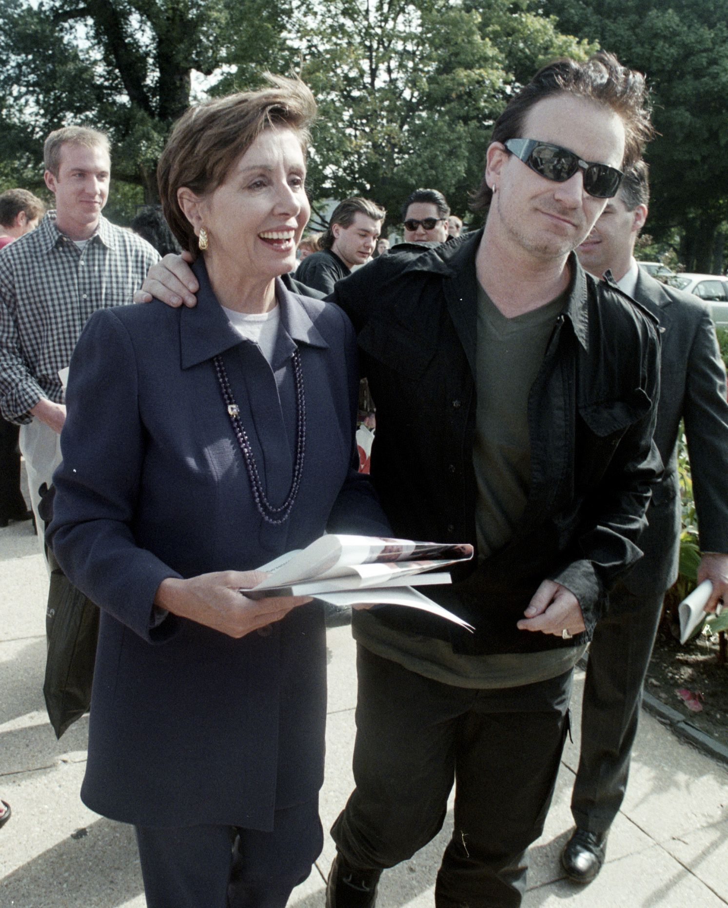Pelosi and Bono walk around Capitol Hill after a press conference on third world debt relief.