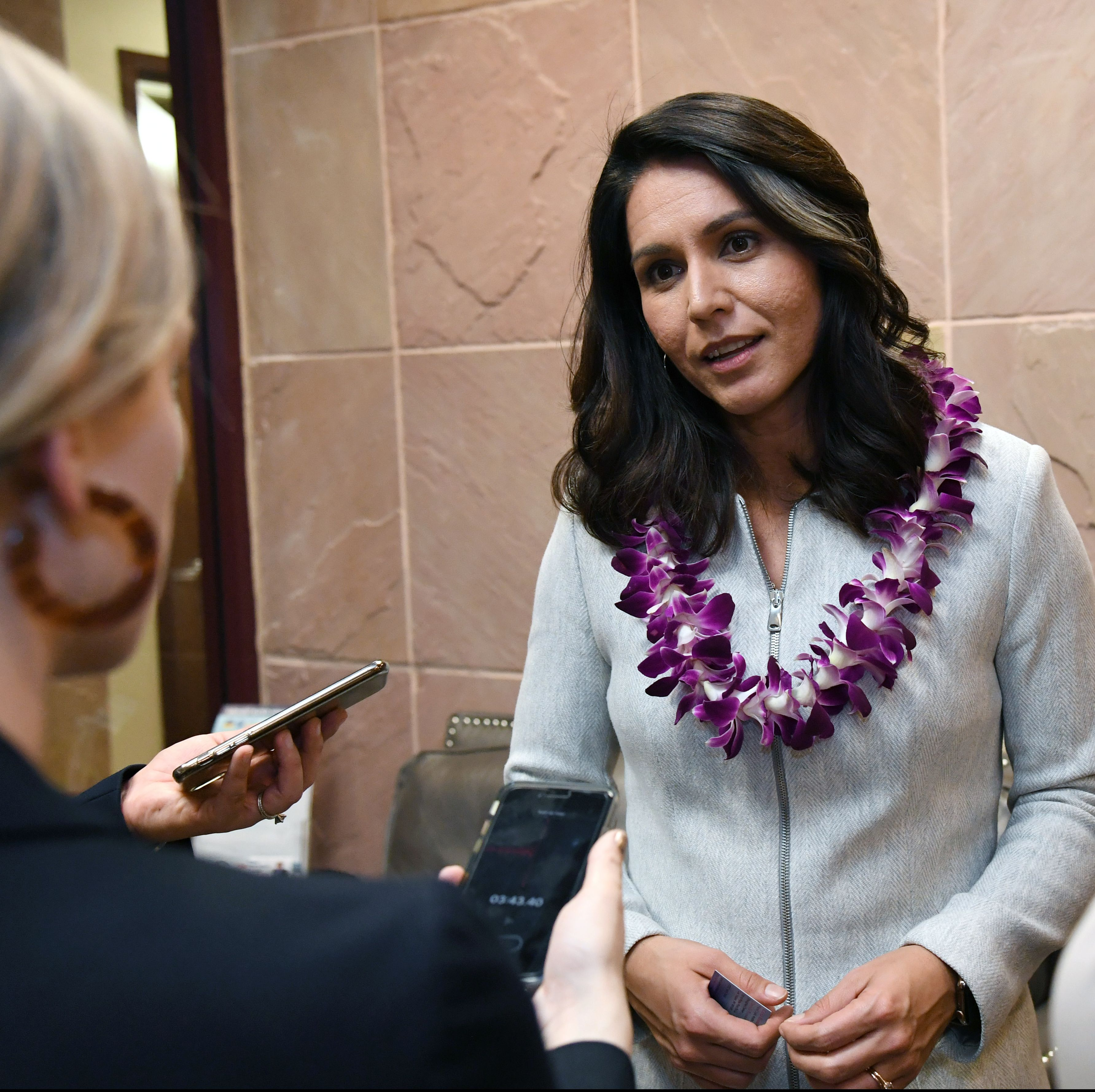 Hawaii Rep. Tulsi Gabbard spoke to reporters at the United Way of Southern Nevada last month. She officially launched her campaign in February.