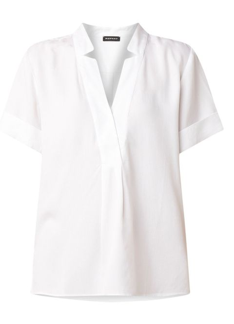 Clothing, White, Sleeve, Collar, Neck, Outerwear, T-shirt, Blouse, Top, Polo shirt,