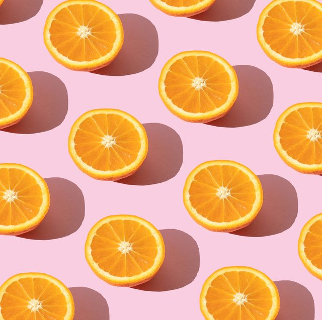 repeated orange on the pink background