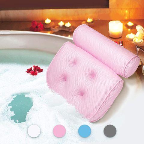 reposacabezas rosa para la bañera