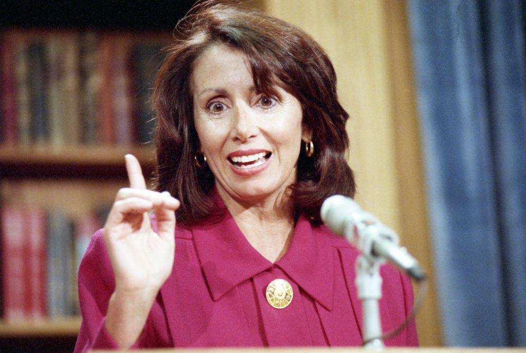 Pelosi discussing H.R. 2712 during a news conference.