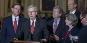 Senate Lawmakers Address The Media After Weekly Policy Luncheons