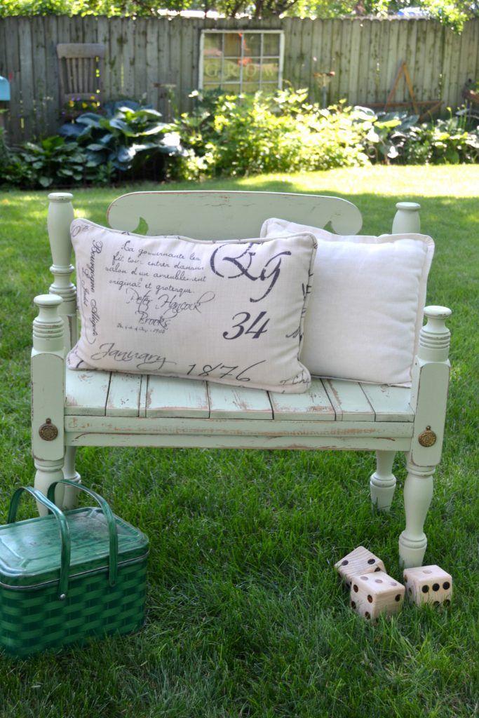 repurposed bed bench diy