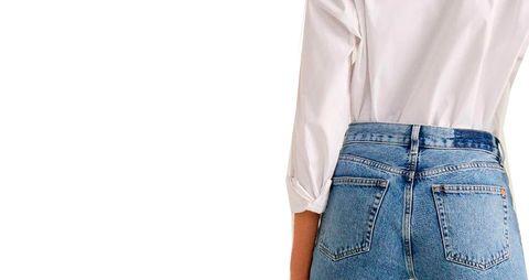 Clothing, Denim, Jeans, White, Pocket, Waist, Button, Shorts, Sleeve, Textile,