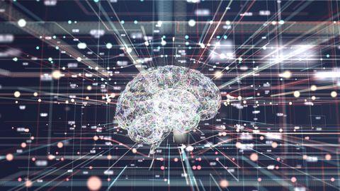 4k resolution futuristic brain in big data connection systemsartificial intelligence concept