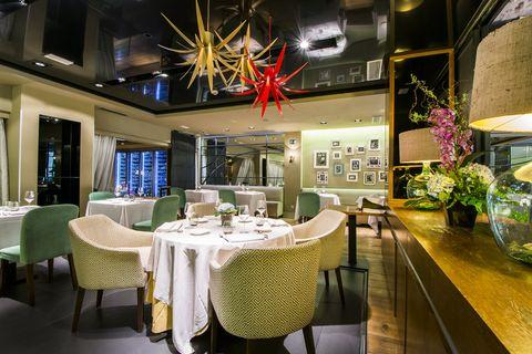 Restaurant, Property, Interior design, Room, Dining room, Building, Lighting, Table, Design, Furniture,