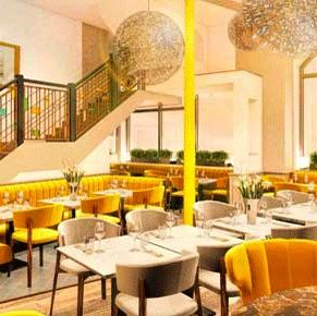 Restaurant, Interior design, Room, Building, Yellow, Brunch, Furniture, Cafeteria, Table, Coffeehouse,