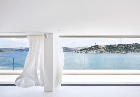 Coastal and oceanic landforms, Aqua, Fixture, Azure, Daylighting, Window treatment, Shade, Transparent material, Curtain, Loch,