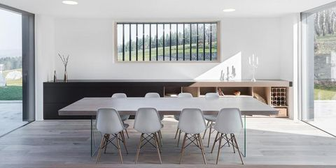 Floor, Wood, Interior design, Room, Flooring, Property, Architecture, Table, Glass, White,
