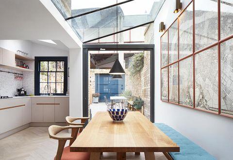 Wood, Glass, Room, Interior design, Table, Floor, Furniture, Wall, Ceiling, Interior design,