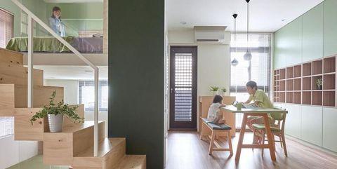 Floor, Wood, Flooring, Interior design, Ceiling, Table, Wall, Hardwood, Real estate, Stairs,