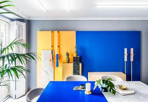 Interior design, Table, Room, Ceiling, Wall, Dishware, Majorelle blue, Houseplant, Interior design, Serveware,