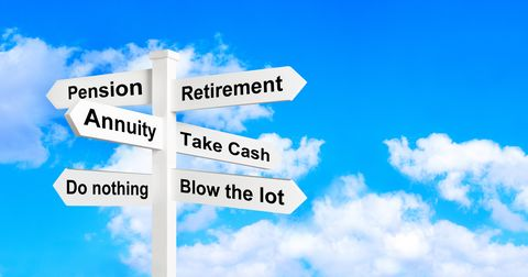 Retirement annuity sign post