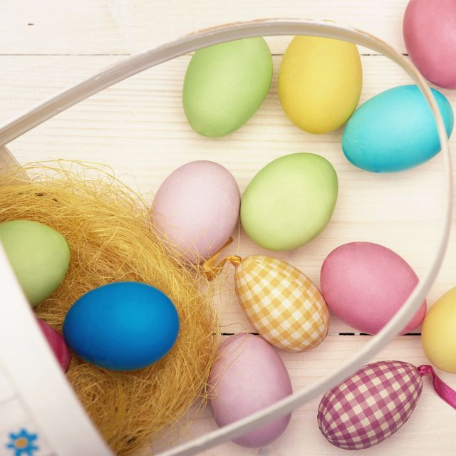 retro easter basket and colorful easter eggs debica, poland