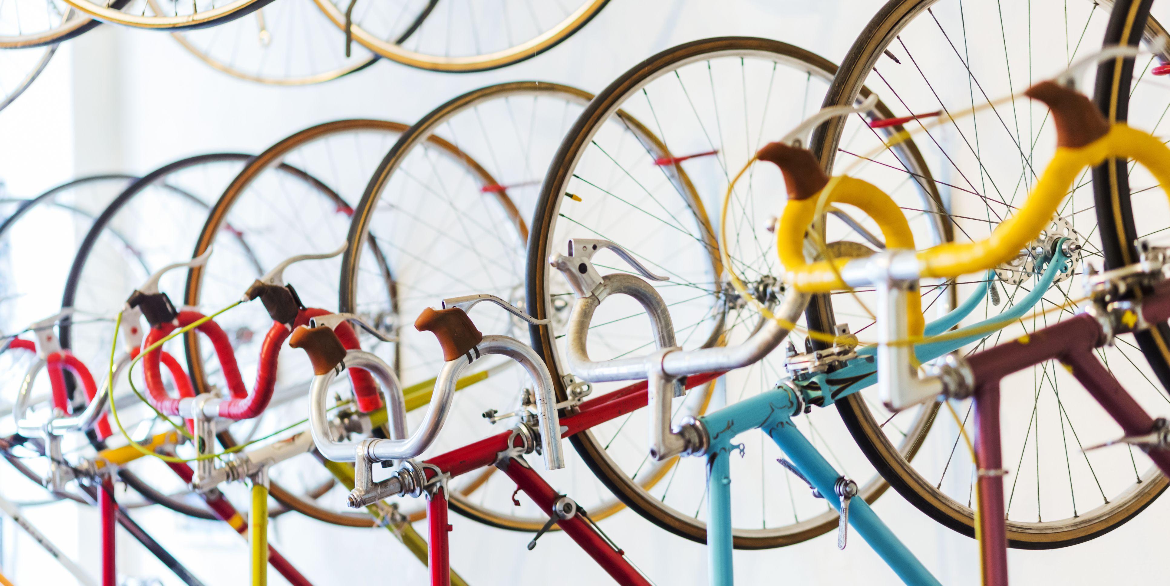 Retro Racing Bicycles Hanging In Bike Shop