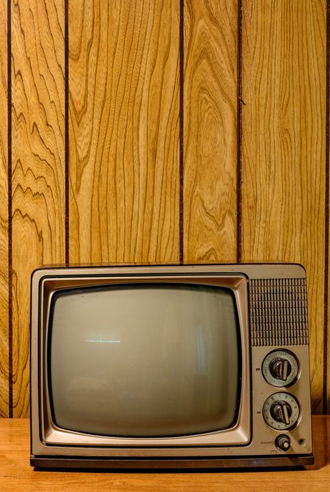 Retro Televison in Wood Paneled Room