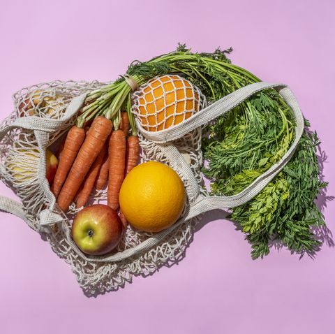 reusable cotton mesh bag with fruit and vegetables