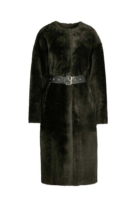Reversible clothing sustainable fashion -Whistles Reversible buckled sheepskin coat