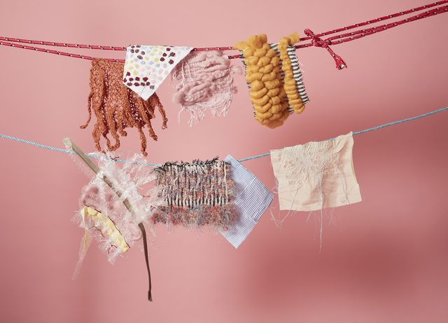 Yellow, Textile, Pink, Amber, Peach, Craft, Creative arts, Rope, Natural material, Embellishment,