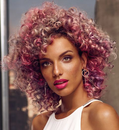 Hair, Hairstyle, Face, Eyebrow, Beauty, Hair coloring, Chin, Purple, Afro, Human,