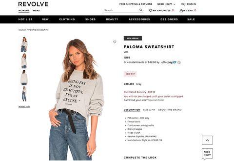Lena Dunham-Revolve Sweatshirts  Revolve Stopped Selling Those Awful ... 910f58de9